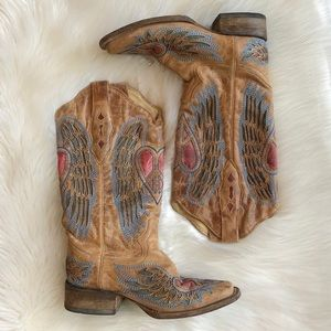 Corral Vintage Wing Heart Leather Western Boots 7M